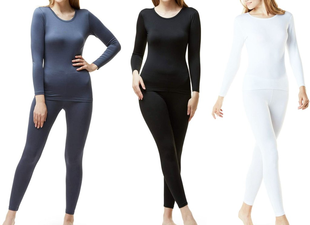 three women modeling thermal underwear sets in grey, black, and white colors