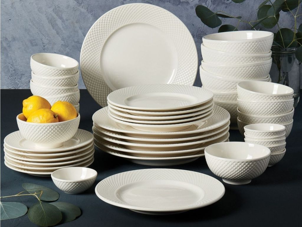 porcelain dinnerware set with lemons in one of the bowls