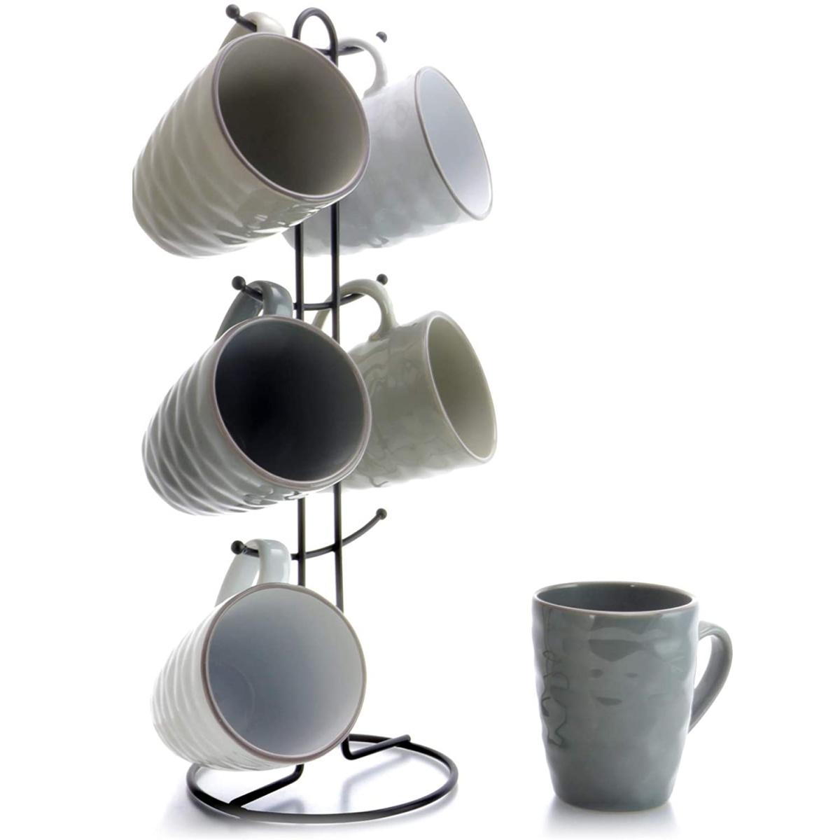 Mug set on metal stand