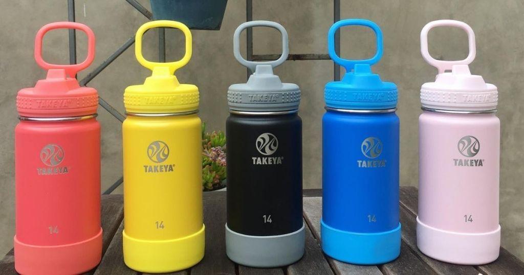 5 colors Takeya 14oz Kids Water Bottle in a row