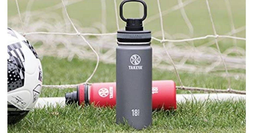 Takeya 18oz Water Bottle in soccer goal