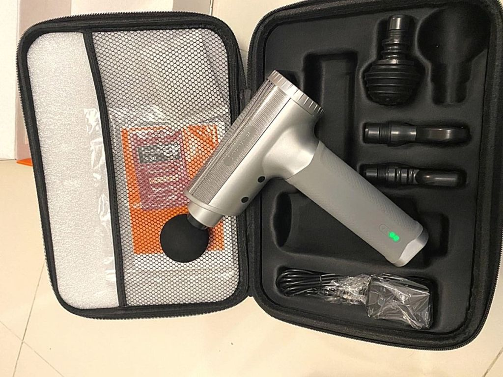 Taotronics massage gun and accessories in case