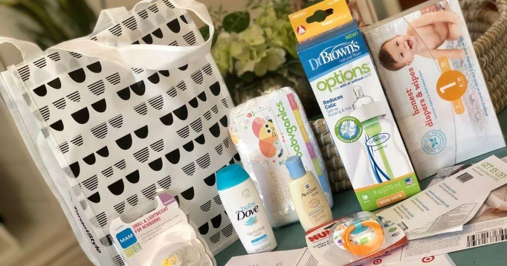 Target baby registry bag and samples