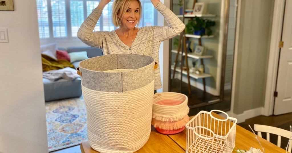 woman surrounded by baskets from Target
