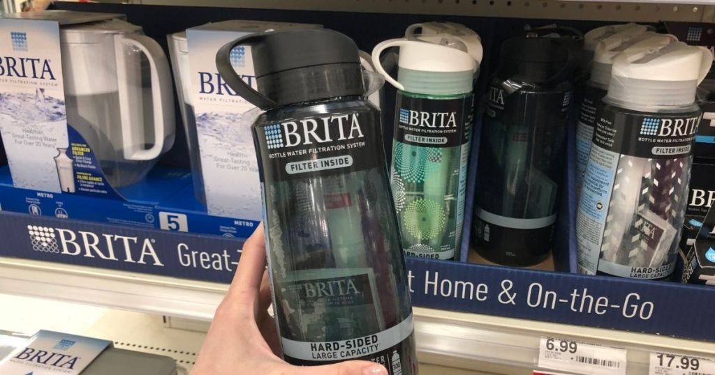 hand holding Target Brita Water Bottle