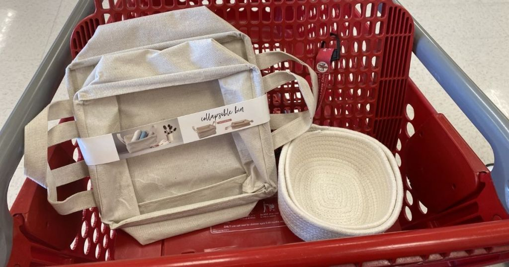 Target Collapsible Bin and Rope Bins in target cart