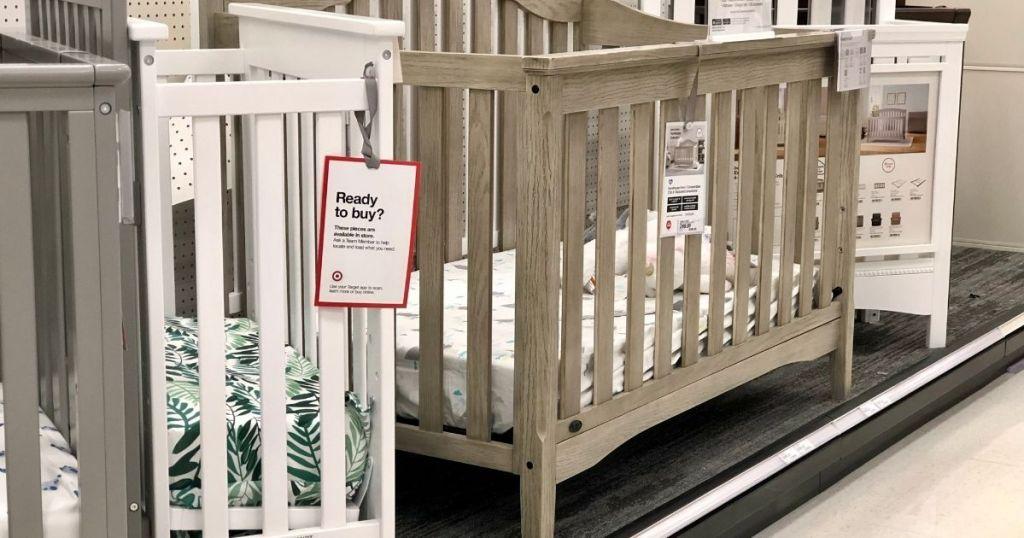 cribs on display at Target