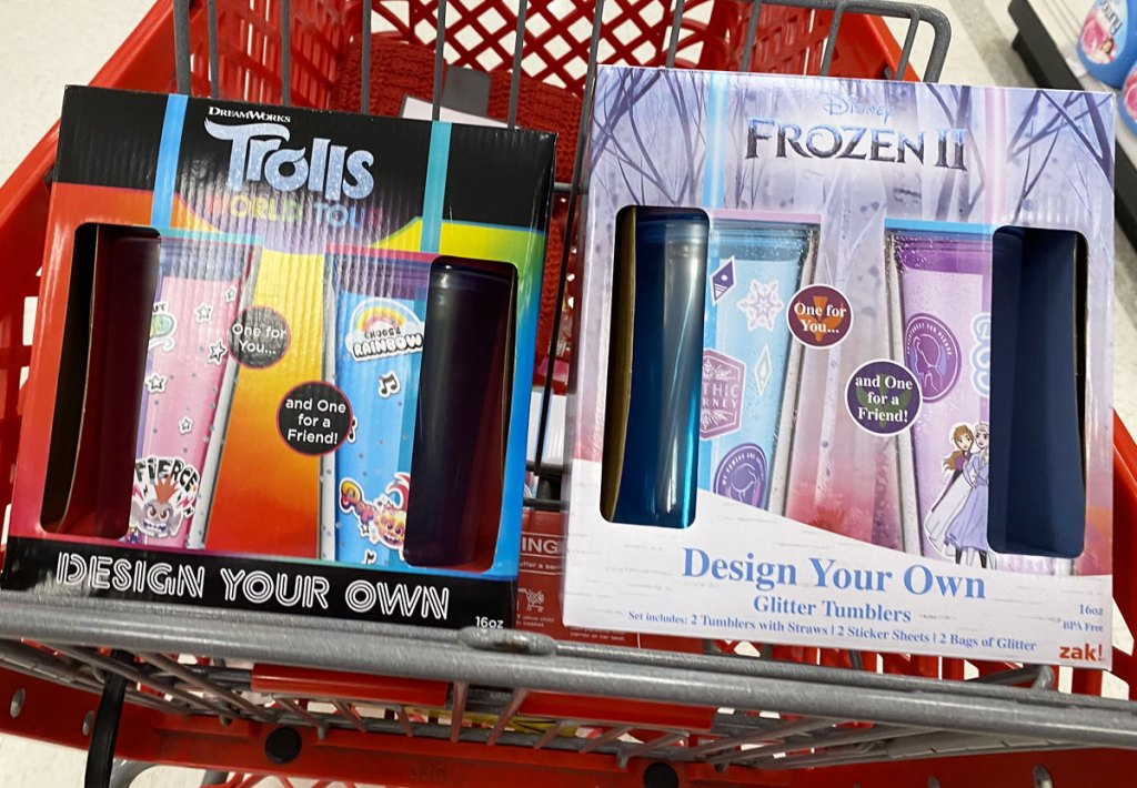 trolls and disney frozen themed tumbler cup 2-packs in a red target shopping cart