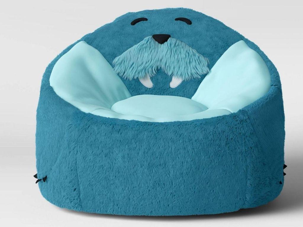 front view of Target Pillowfort Blue Walrus Bean Bag Chair