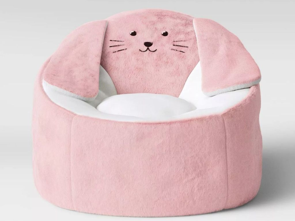 front view of Target Pillowfort Pink Bunny Bean Bag Chair