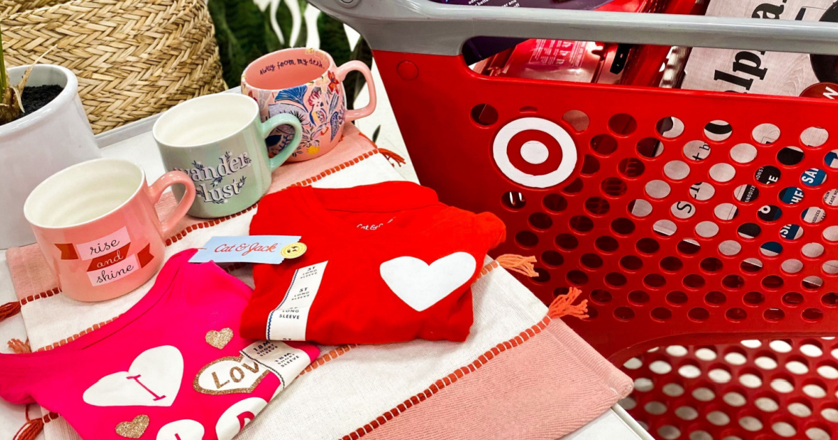 In-store display of Target sale items near shopping cart