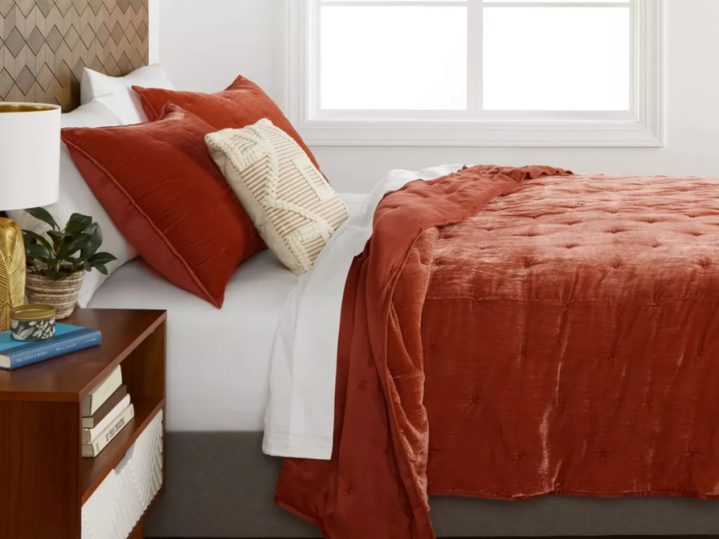 Target velvet bedding on a bed