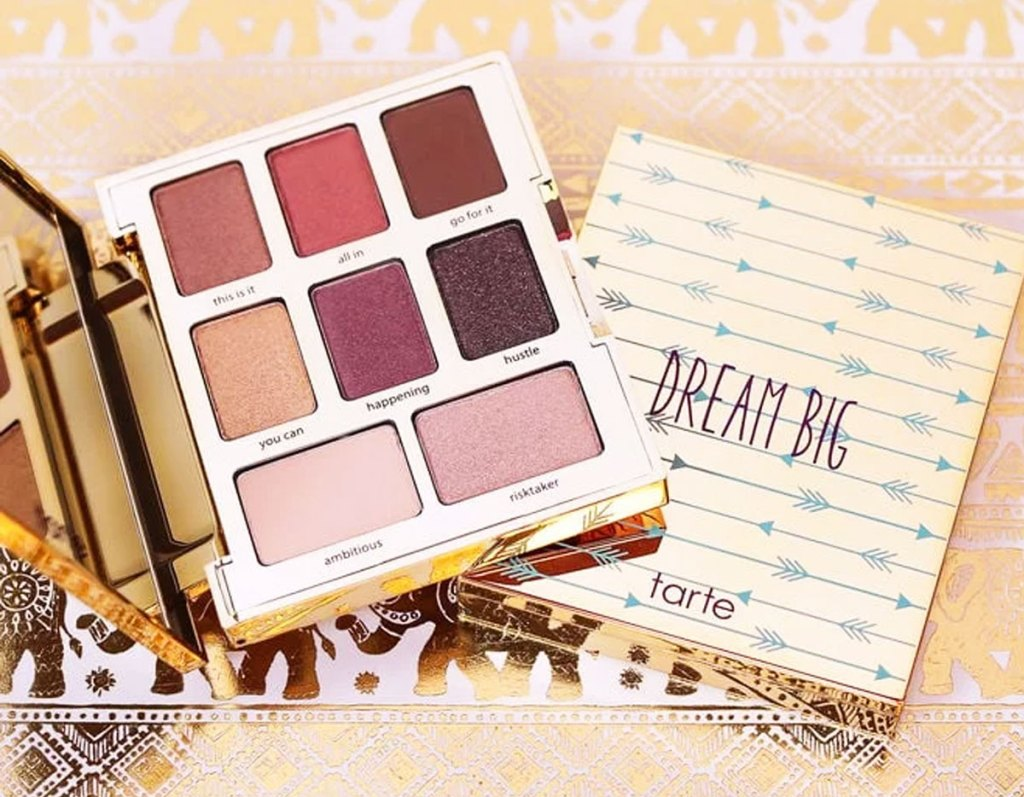tarte eyeshadow palette opened on top of gold box it comes in
