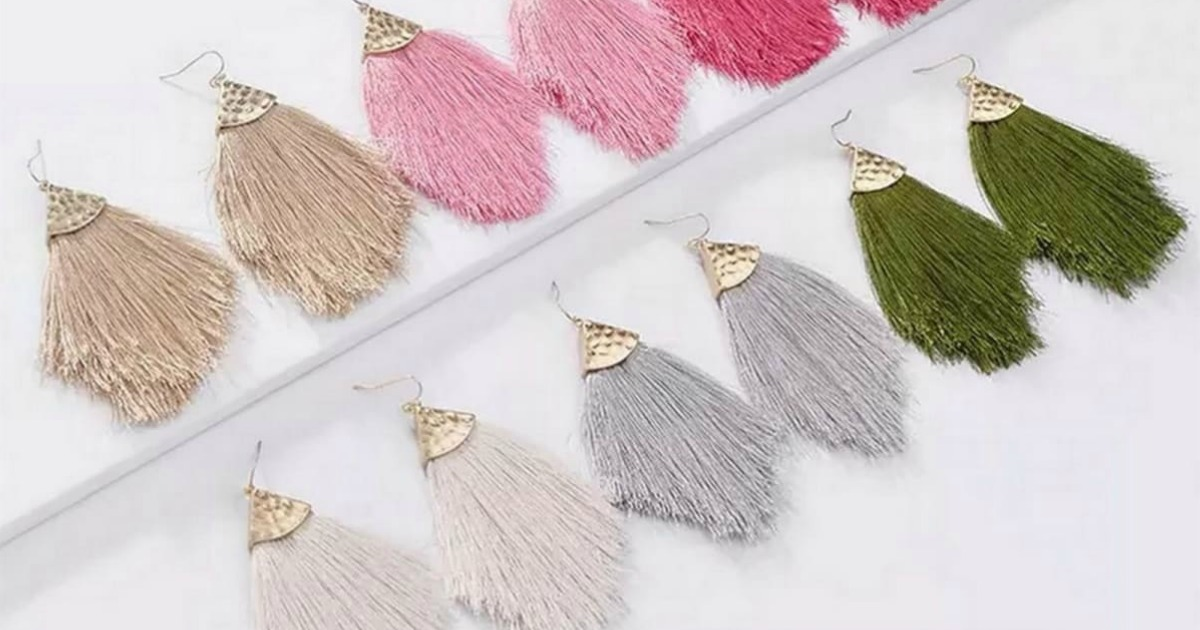 Tassel style Earrings laid out in pairs