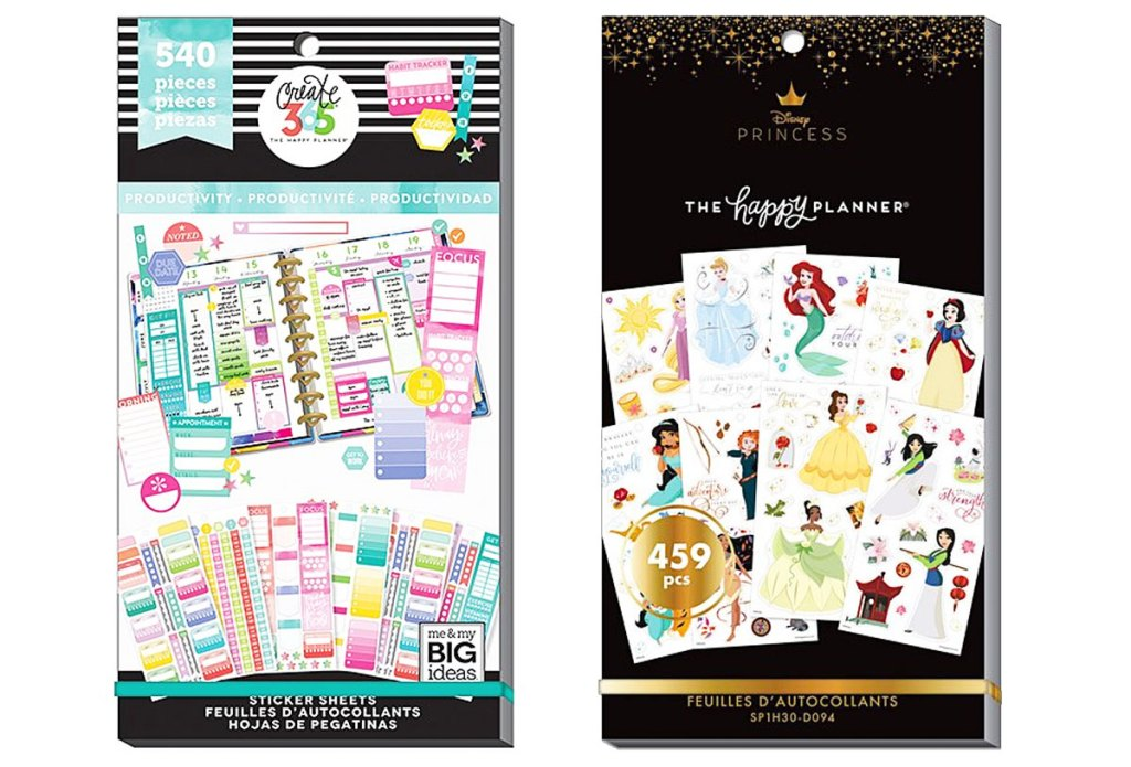 two sets of the happy planner sticker sets