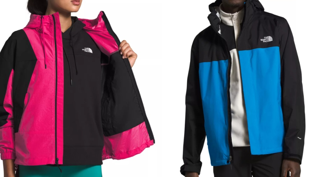 The North Face Women's Pink and Black Jacket and Men's Blue and Black Jacket