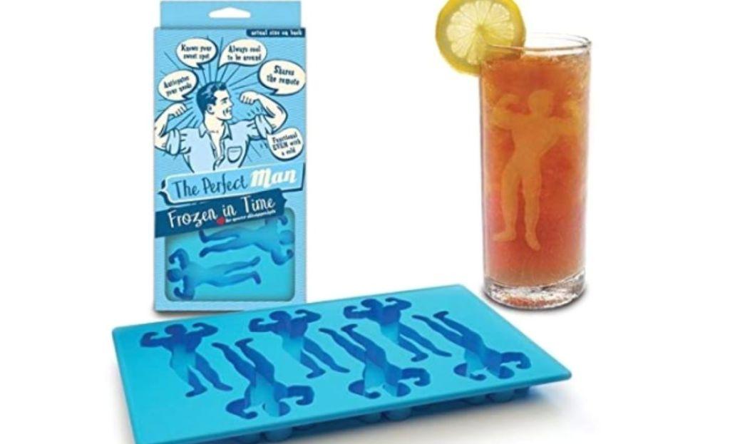 Ice cube tray molds shaped like a man