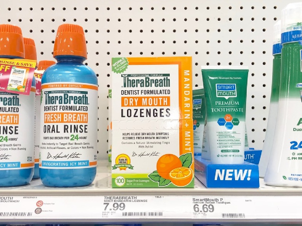 oral care products on store shelf