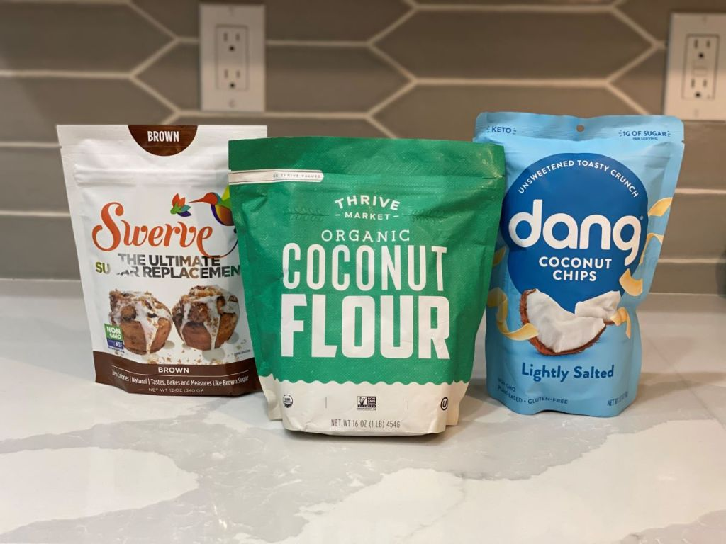 Swerve sugar, coconut flour and dang coconut chips