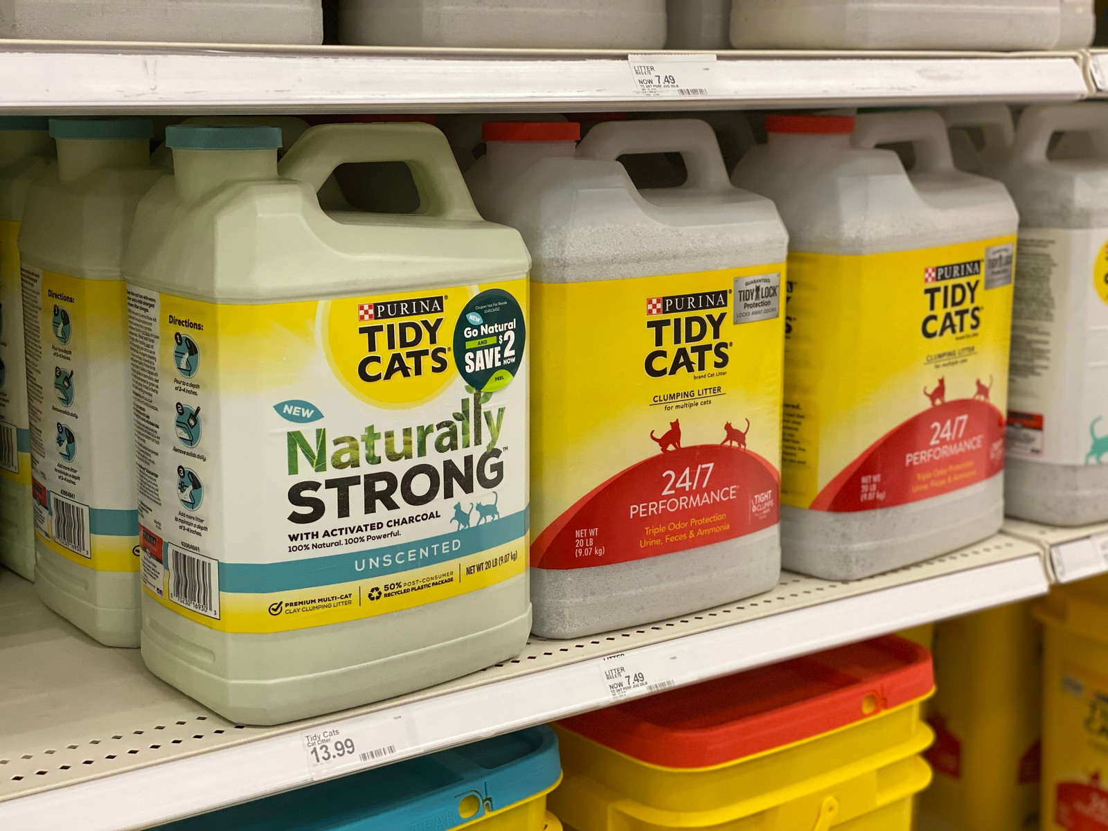 Tidy Cats Naturally Strong Litter 20 pound on store shelf
