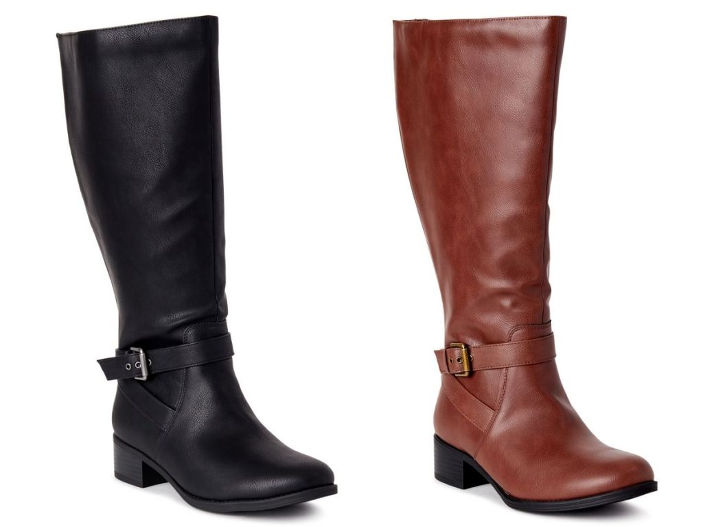 Time & Tru Riding Boot in black and brown