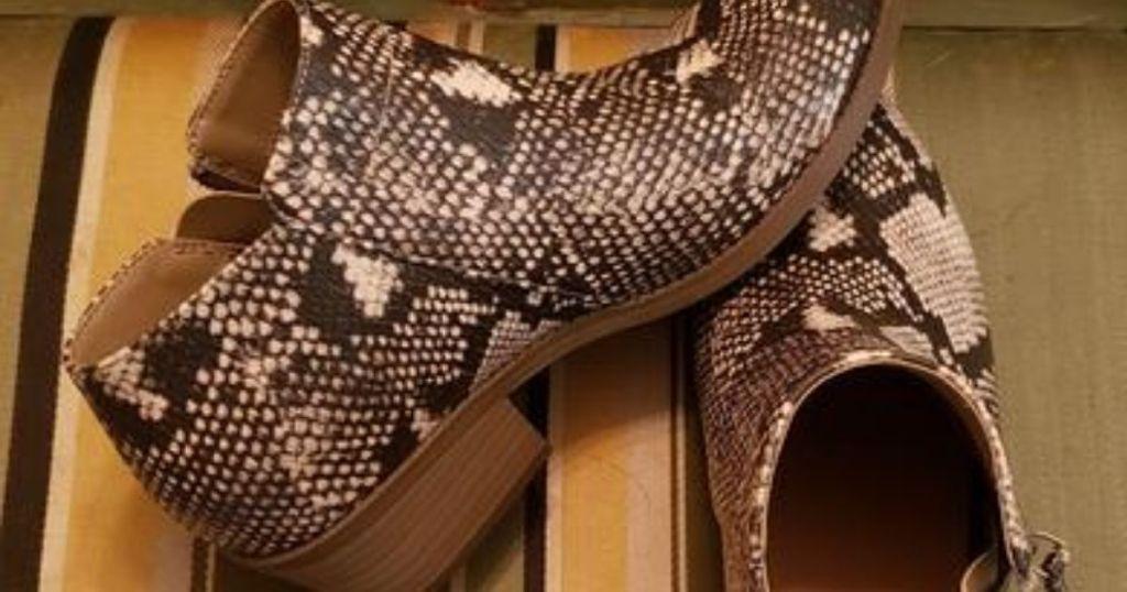 pair of Time & Tru Snake Booties