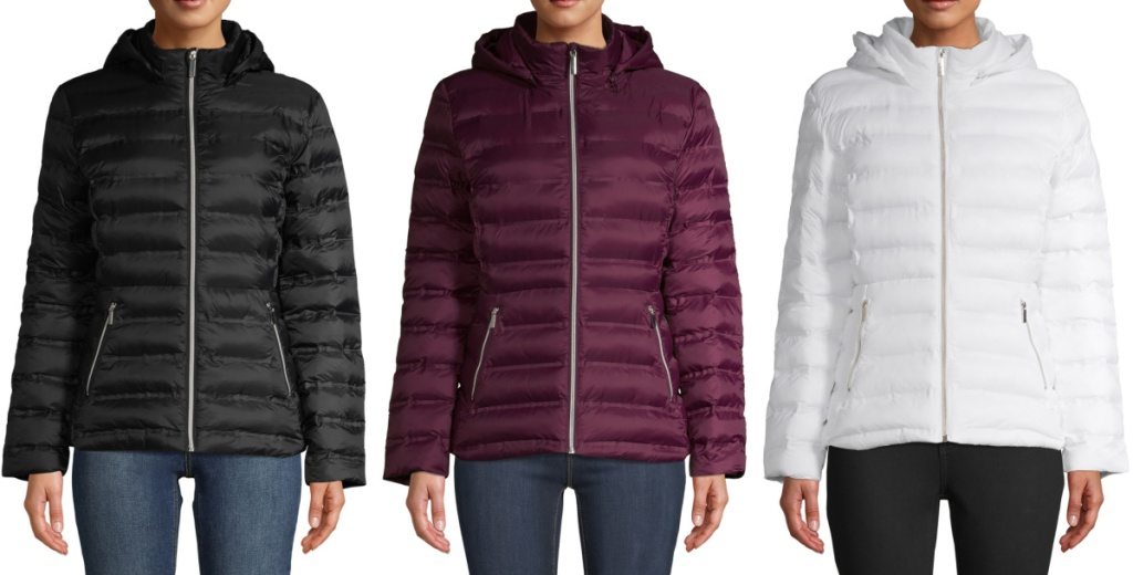 Time and Tru Women's Packable Puffer Jacket with Hood