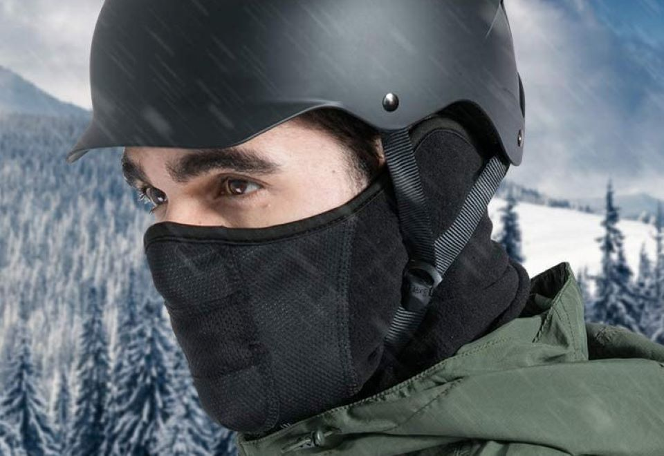 man wearing a helmet and a mask