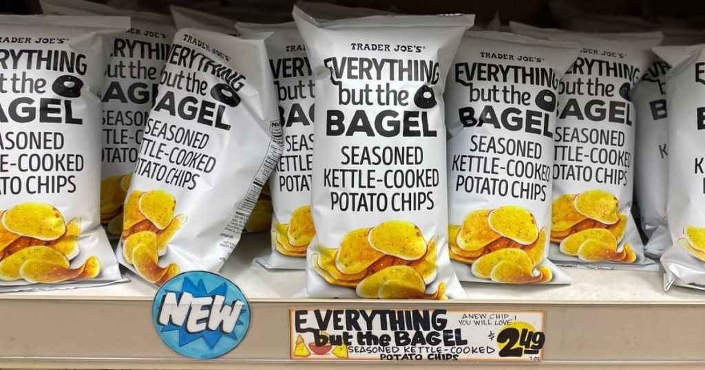 Trader Joe's Everything But The Bagel Kettle Chips on display shelf