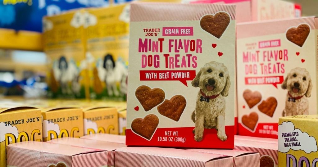 boxes of Trader Joe's Grain Free Mint Flavor Dog Treats on shelf