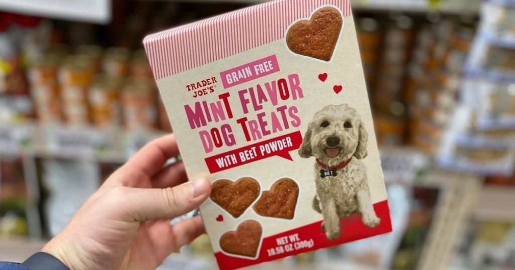 hand holding a box of Trader Joe's Grain Free Mint Flavor Dog Treats