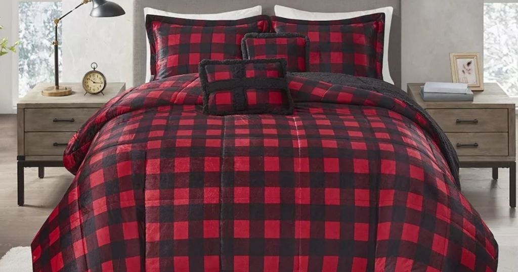 buffalo check comforter on a bed