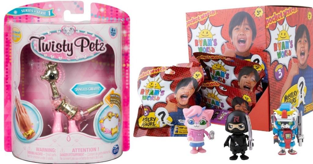 twisty petz and Ryan's world toys