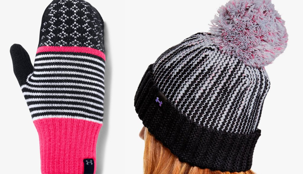 under armour knitted mitten and beanie with a pom on top