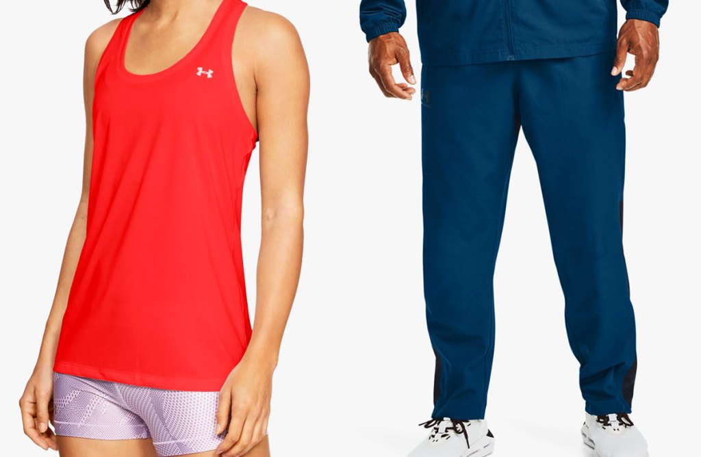 woman in red tank top and man in blue sweatpants