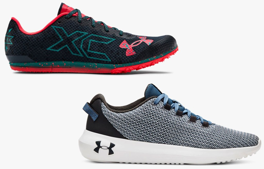 two pairs of under armour running shoes