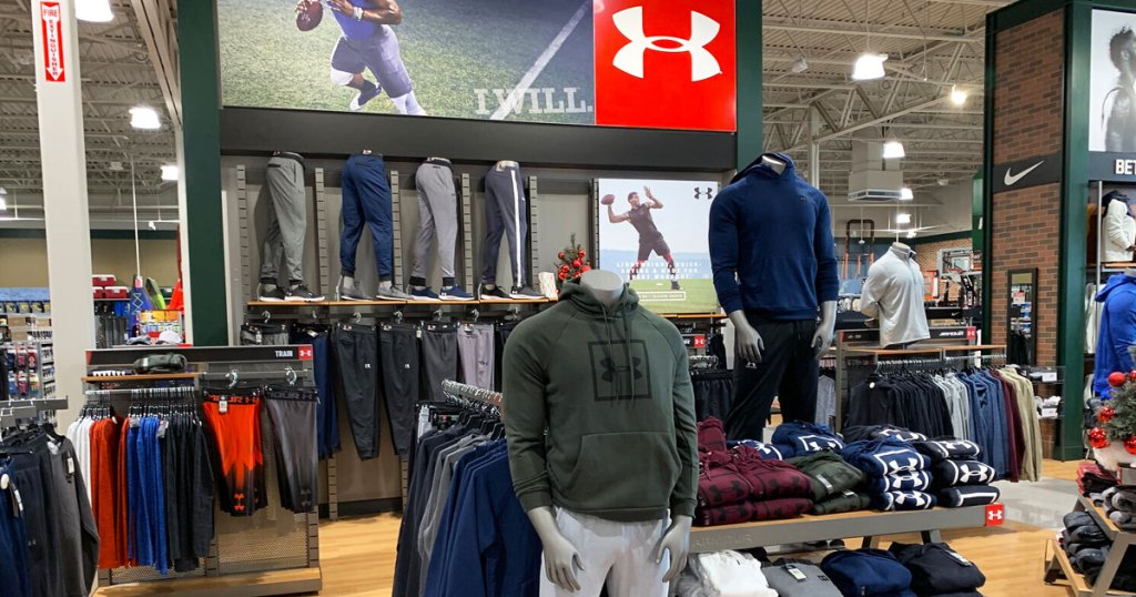 men's under armour apparel section inside dick's sporting goods store