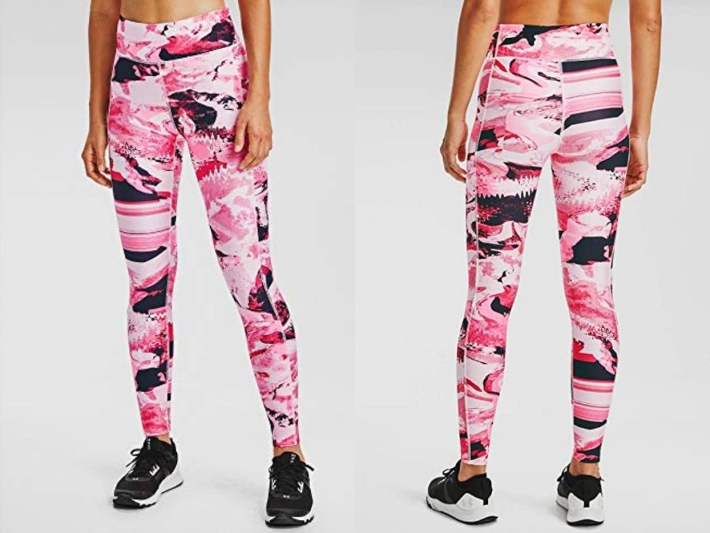 front and back of Under Armour HeatGear Leggings in Cerise