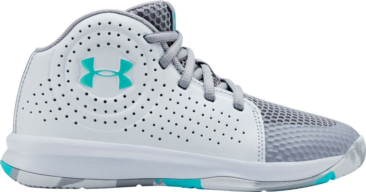grey and blue under armour sneaker