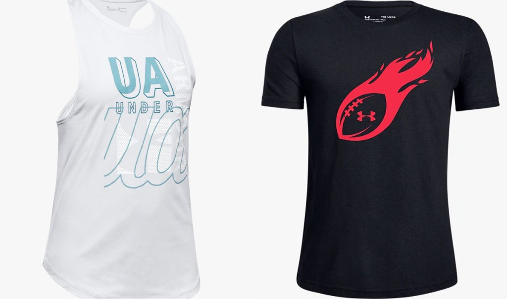 girls white under armour tank top and boys black under armour football shirt