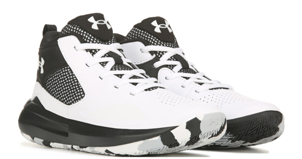 kids white and black basketball shoes