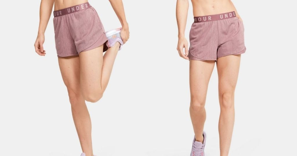 2 views of lady in Under Armour Play Up Shorts 3.0 Twist in Hushed Pink