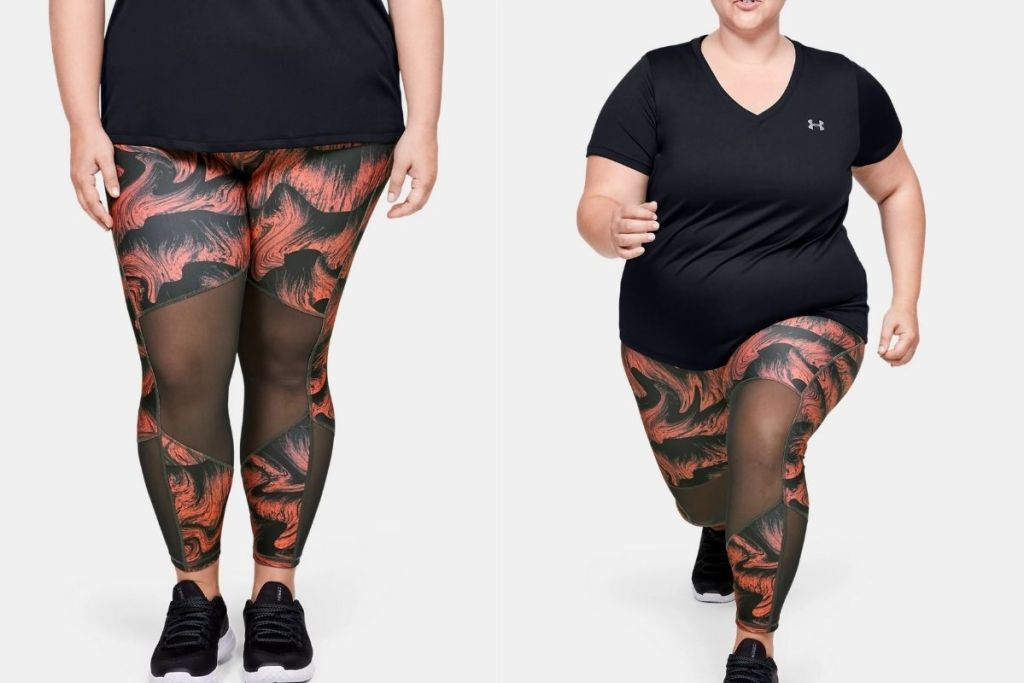 2 views of lady in Under Armour Women's Plus Size HeatGear Armour Mesh Ankle Crop