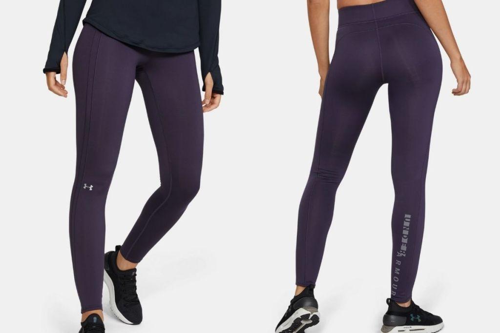 2 views of lady wearing Under ArmourWomen's UA Cozy Graphic Leggings