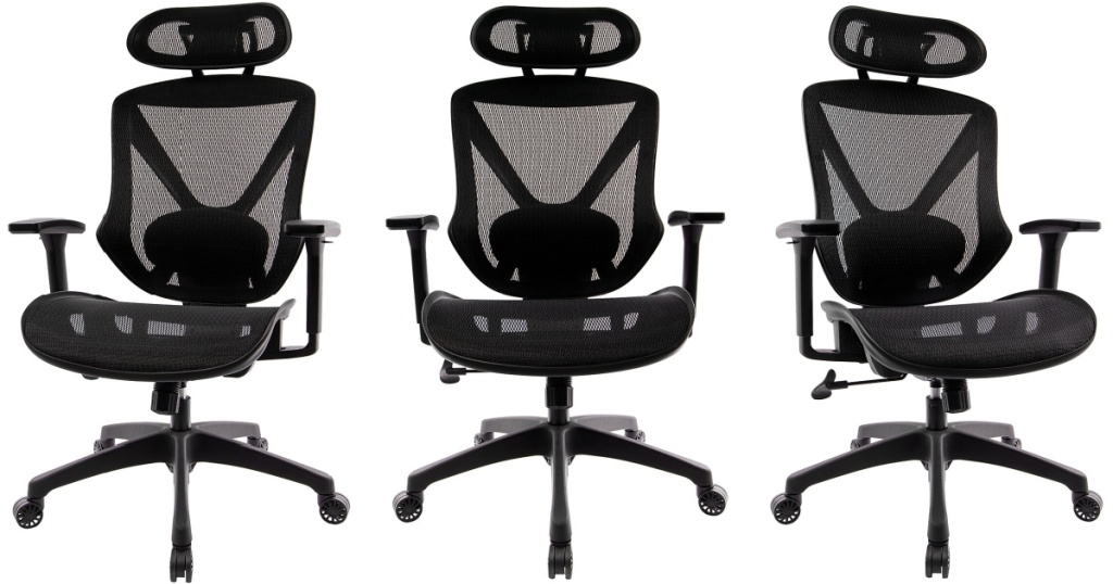 Three angles of an office chair