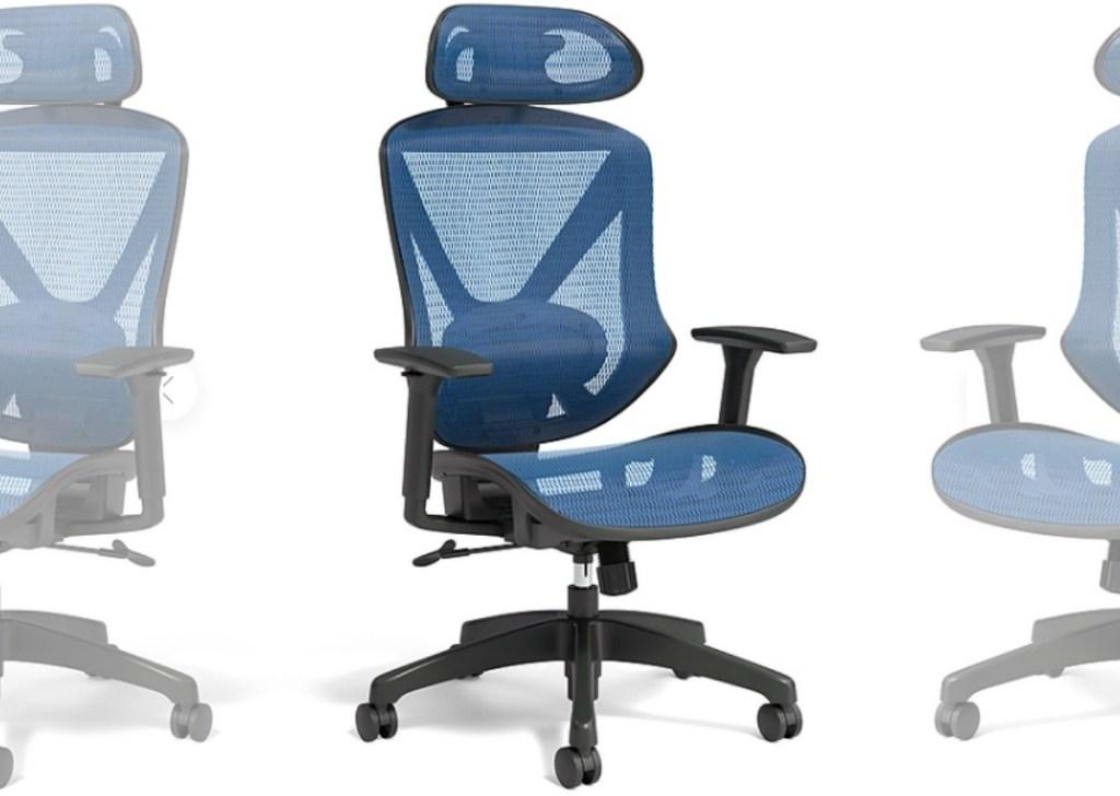 Large blue mesh chair