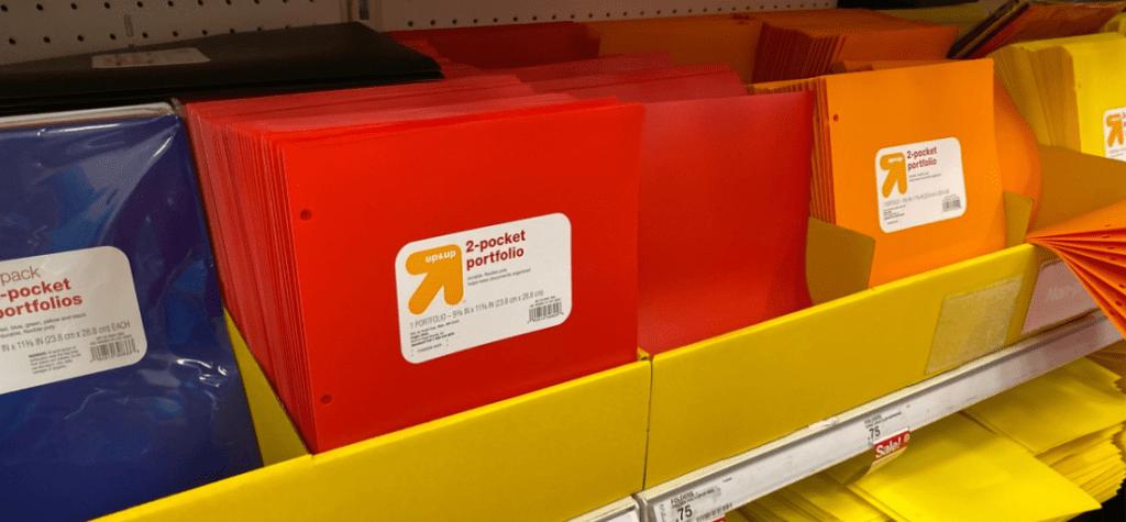 display of folders at Target