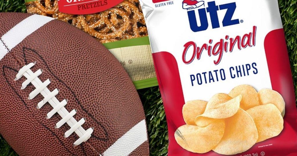 Utz Original Potato Chips next to football