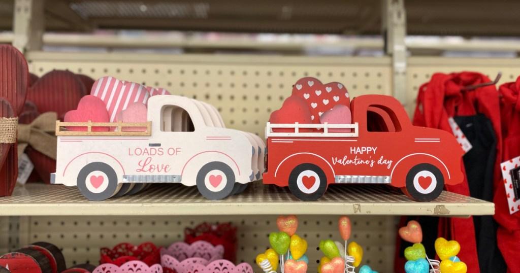 white and pink valentine trucks at hobby lobby