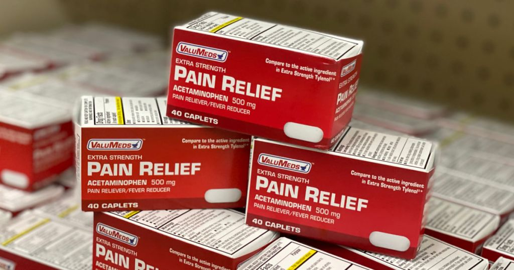 3 boxes of pain medicine on shelf
